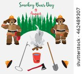Poster Smokey Bear Day. Vector...