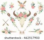 tribal floral bison skull    Shutterstock .eps vector #462517903