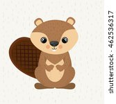 beaver cute wildlife icon... | Shutterstock .eps vector #462536317