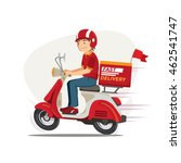 delivery man ride scooter... | Shutterstock .eps vector #462541747