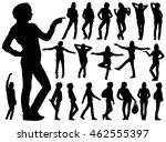 set of black vector silhouettes ... | Shutterstock .eps vector #462555397