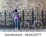 young woman in purple shirt and ... | Shutterstock . vector #462623377