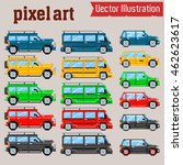 vector pixel art cars  | Shutterstock .eps vector #462623617