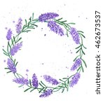 beautiful lavender wreath... | Shutterstock . vector #462673537