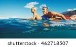 father and son surfing together ... | Shutterstock . vector #462718507