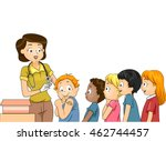 illustration of children lining ...