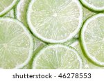 Green Lime Slices Close Up...