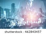 double exposure of success... | Shutterstock . vector #462843457