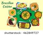 brazilian cuisine dishes ... | Shutterstock .eps vector #462849727