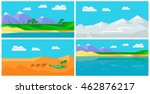 set of natural landscapes with... | Shutterstock .eps vector #462876217