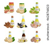 set of butter and nut oil... | Shutterstock .eps vector #462876823
