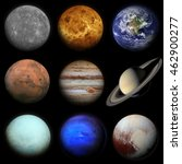 Small photo of Solar system. Planets on black background. Sun, Mercury, Venus, Earth, Mars, Jupiter, Saturn, Uranus, Neptune, Pluto. Elements of this image furnished by NASA.