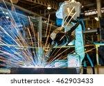 robot welding steel part.   | Shutterstock . vector #462903433