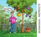 gardener near the apple tree    Shutterstock . vector #462905173
