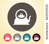 tea kettle icon in round shape.  | Shutterstock .eps vector #462925933