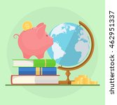 piggy bank with stack of books... | Shutterstock .eps vector #462951337