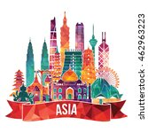 asia skyline detailed... | Shutterstock .eps vector #462963223