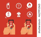 emergency fire icon set and... | Shutterstock .eps vector #462991363