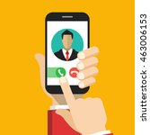 incoming call on smartphone... | Shutterstock .eps vector #463006153