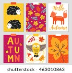 set of six autumn greeting... | Shutterstock .eps vector #463010863