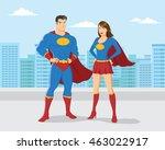 superhero couple with city... | Shutterstock .eps vector #463022917