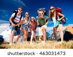 teenagers in front of tents... | Shutterstock . vector #463031473