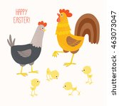 happy chicken family. funny hen ... | Shutterstock .eps vector #463073047