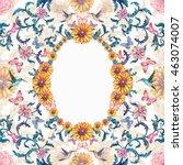 fancy vintage aged floral frame ... | Shutterstock . vector #463074007