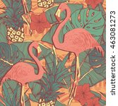 seamless pattern with flamingo... | Shutterstock . vector #463081273