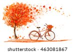 autumn background with a tree... | Shutterstock .eps vector #463081867