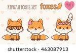 kawaii foxes icons set. vector... | Shutterstock .eps vector #463087913