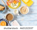 breakfast bacon and eggs ... | Shutterstock . vector #463132337