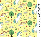 unicorn seamless pattern. cute... | Shutterstock .eps vector #463200827