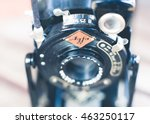 Small photo of ROME, ITALY - AUGUST 3 2016. Vintage Agfa Billy photo camera detail of logo and upper side of the lens