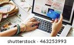 summer beach holiday online... | Shutterstock . vector #463253993