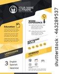 vector resume template. cv ... | Shutterstock .eps vector #463289537