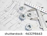 vernier caliper  ruler  nut and ... | Shutterstock . vector #463298663