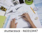 architect working on blueprint. ... | Shutterstock . vector #463313447