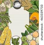 fresh vegetables on wooden...   Shutterstock .eps vector #463339733