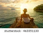 rear view of a romantic young...   Shutterstock . vector #463351133