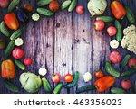 vegetables on wood.bio healthy... | Shutterstock . vector #463356023