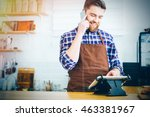 handsome smiling barista with... | Shutterstock . vector #463381967
