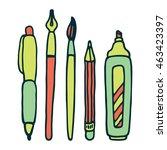 pens  pencil  marker and brush... | Shutterstock .eps vector #463423397