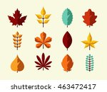 autumn leaves set. flat design... | Shutterstock .eps vector #463472417