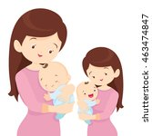 young mother is holding her... | Shutterstock .eps vector #463474847