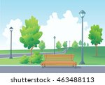 empty bench in the park. park... | Shutterstock .eps vector #463488113
