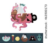 flat illustration with pirate... | Shutterstock .eps vector #463500173