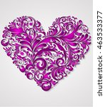 vector floral heart for st.... | Shutterstock .eps vector #463533377