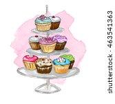 watercolor illustration on... | Shutterstock . vector #463541363