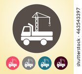 crane truck icon in round shape. | Shutterstock .eps vector #463543397